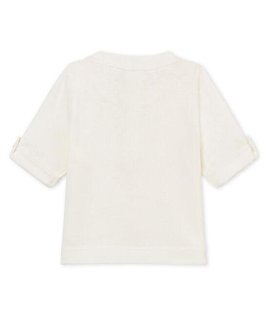 Baby boys' cotton/linen t-shirt Marshmallow white