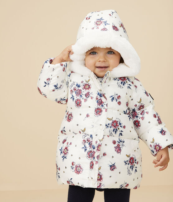 Baby girl's puffer jacket Marshmallow white / Multico white