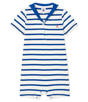 Stripy playsuit for baby boys Marshmallow white / Surf blue