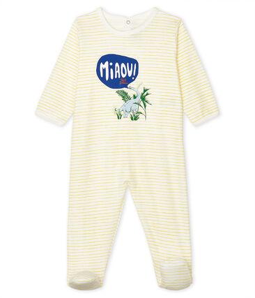 Baby Boys' Ribbed Sleepsuit Marshmallow white / Shine yellow