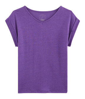 Women's Linen T-Shirt Real purple