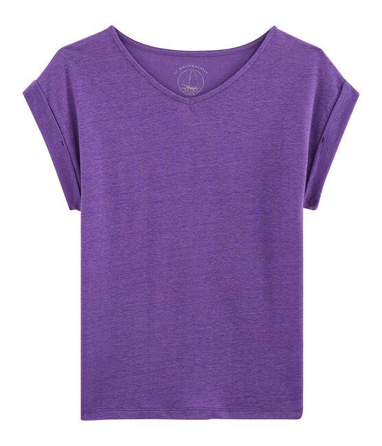 Women's Linen T-Shirt Real purple