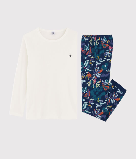 Boys' Jungle Print Ribbed Pyjamas Medieval blue / Multico white