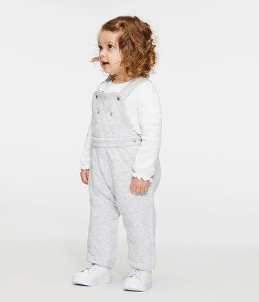 Baby Girls' Long Quilted Tube-Knit Dungarees Beluga grey