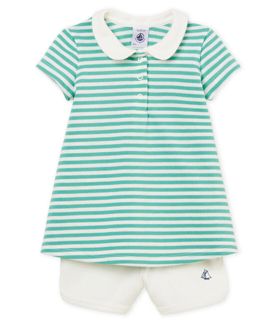 Baby girls' striped polo shirt dress and shorts . set