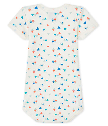 Baby boys-girls' short-sleeved bodysuit Marshmallow white / Multico white