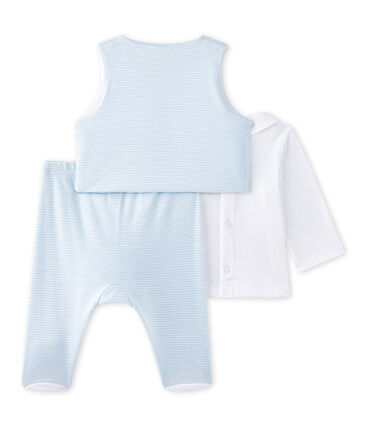 Baby boys' 3-piece set Fraicheur blue / Ecume white
