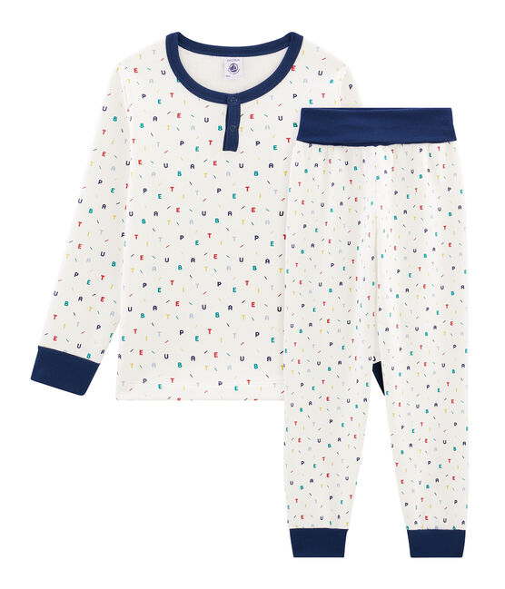 Boys' High-Rise Fleece Pyjamas Marshmallow white / Multico white