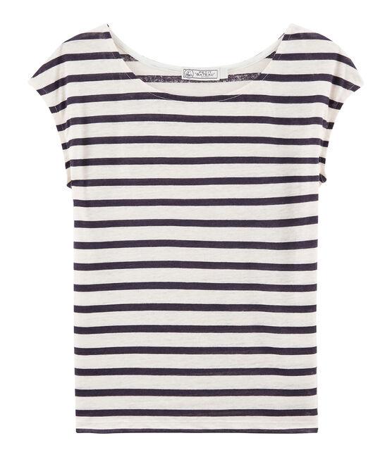 Women's linen T-Shirt Marshmallow white / Medieval blue