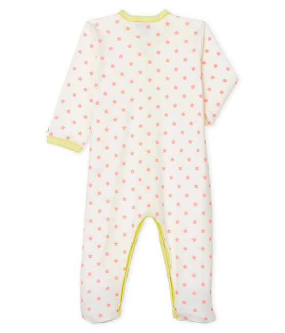 Baby Girls' Ribbed Sleepsuit Marshmallow white / Gretel pink