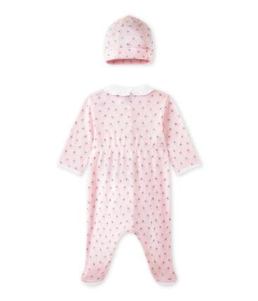 Baby girls' sleepsuit and its newborn hat Vienne pink / Multico white