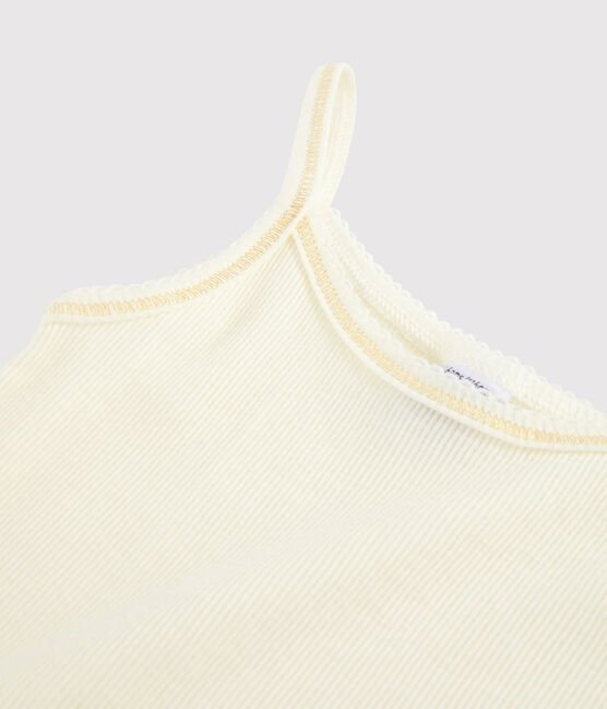 Girls' Strappy Top in Cotton and Wool Marshmallow white