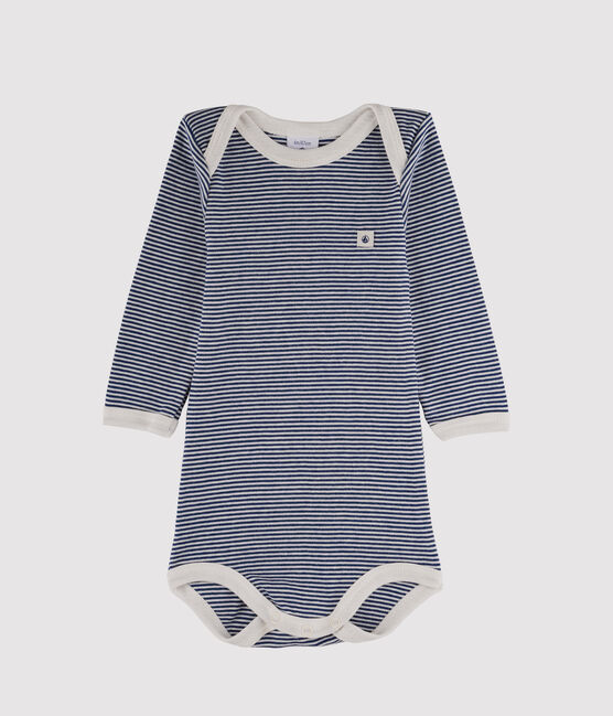 Baby Boys' Long-Sleeved Bodysuit Medieval blue / Marshmallow white