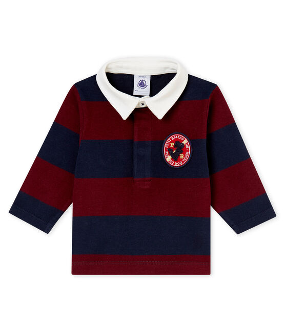 Baby boy's striped polo shirt Smoking blue / Ogre red