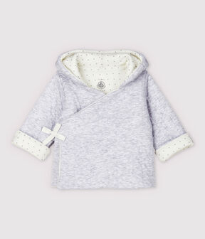 Babies' Grey Hoody in Quilted Organic Cotton Tube Knit Poussiere Chine grey