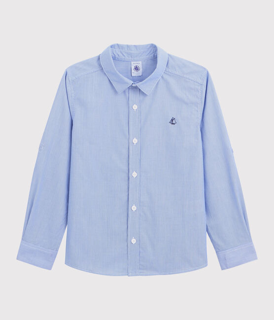 Boys' Long-Sleeved Poplin Shirt Bleu blue / Blanc white