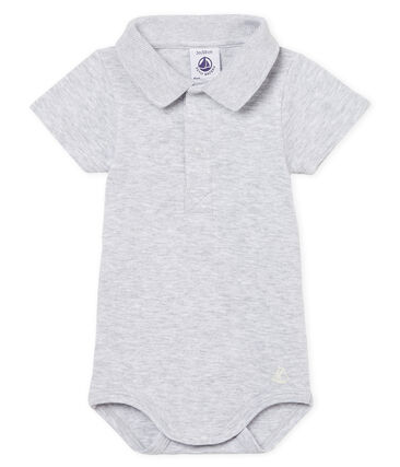 Baby boys' plain bodysuit with polo shirt collar Poussiere Chine grey