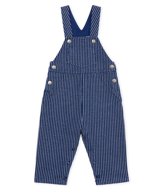 Baby boys' striped jersey long dungarees Smoking blue / Marshmallow white