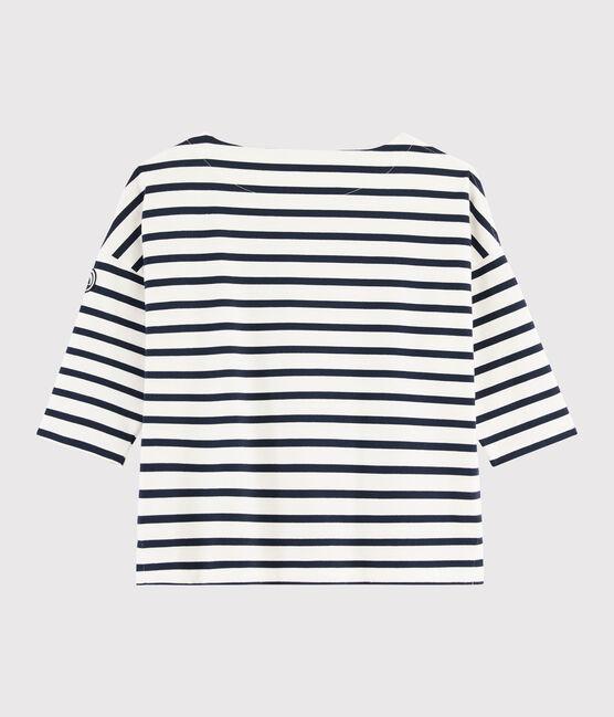 Women's Breton Top Marshmallow white / Smoking blue