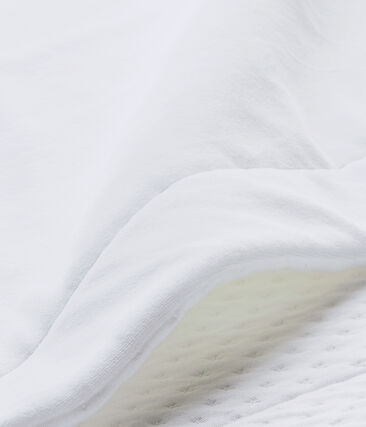 Baby's unisex dual fabric blanket Ecume white