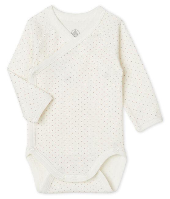 Newborn Babies' Long-Sleeved Bodysuit Marshmallow white / Charme pink
