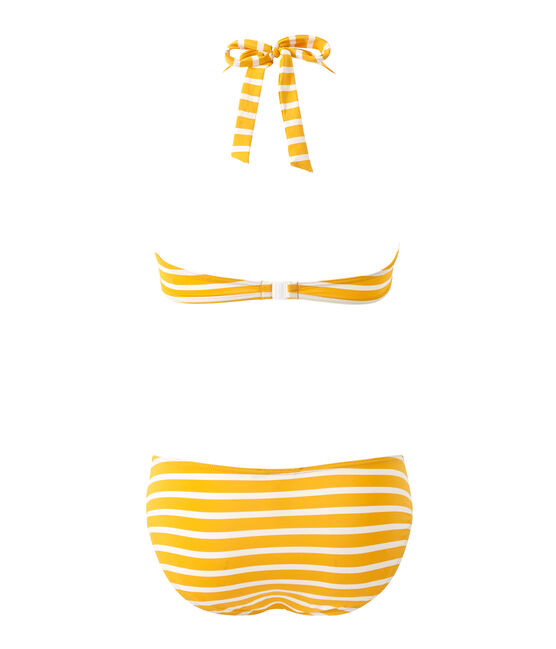 Women's striped two-piece swimsuit Fusion orange / Marshmallow white