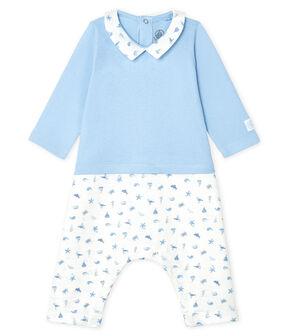 Baby Boys' Long Bodysuit Jasmin blue / Multico white