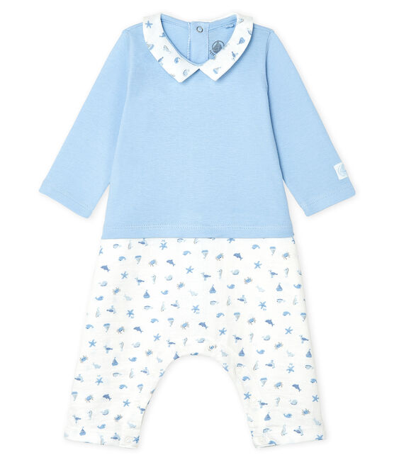 Baby Boys' Long Bodysuit Jasmin blue / Multico white
