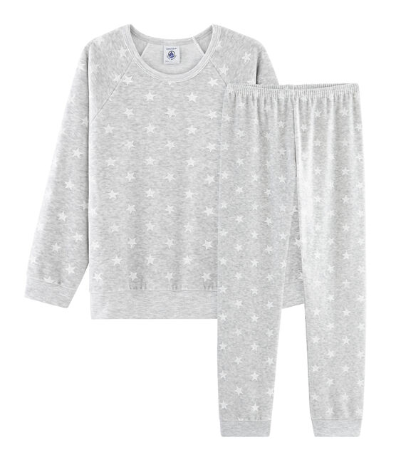 Girls' Velour Pyjamas Beluga grey / Marshmallow white