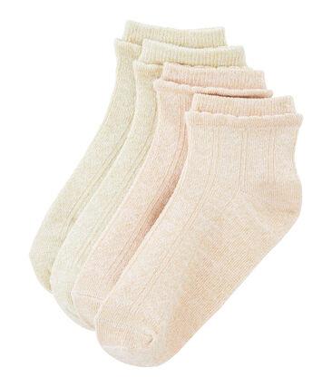 Set of 2 pairs of socks for girls Marshmallow white / Minois pink