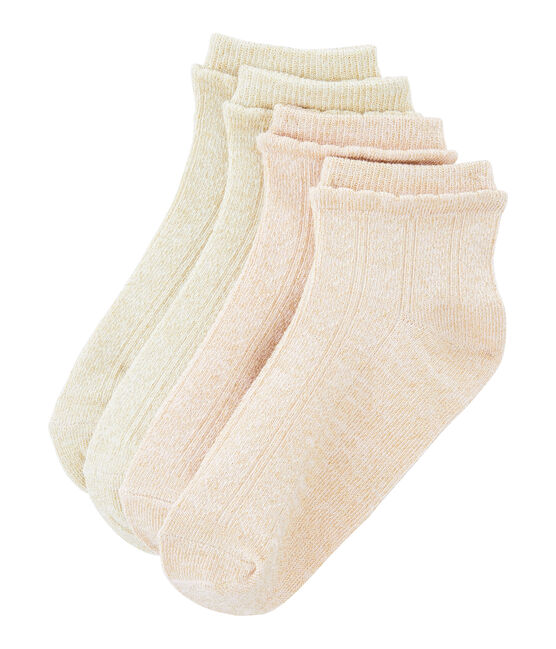 Set of 2 pairs of socks for girls Marshmallow white / Minois pink