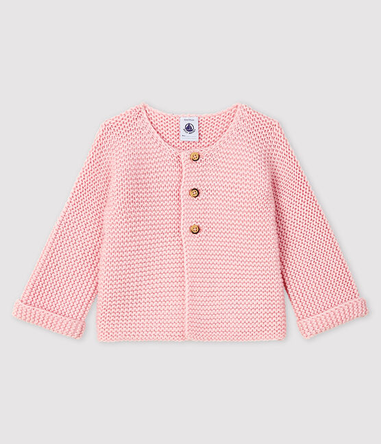Baby girl's wool and cotton mix cardigan Minois pink