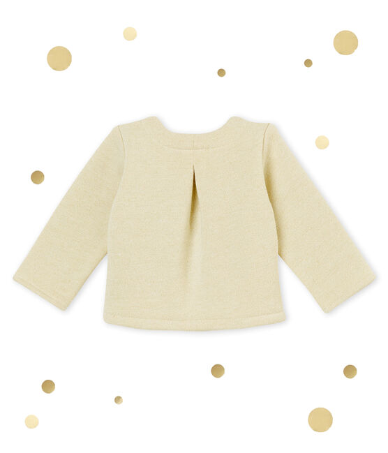 Baby girl's shiny cotton sweatshirt cardigan Marshmallow white / Dore yellow