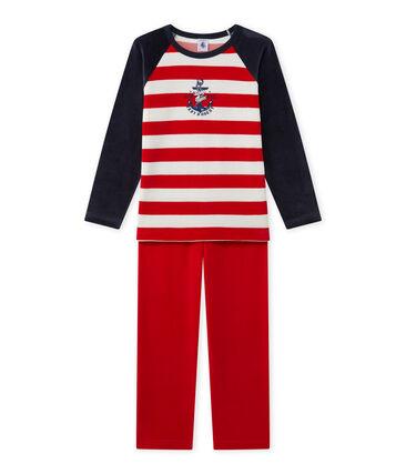 Boy's anchor motif pyjamas Smoking blue / Froufrou red