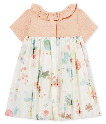 Baby girls' dual-material dress Pearl pink / Multico white