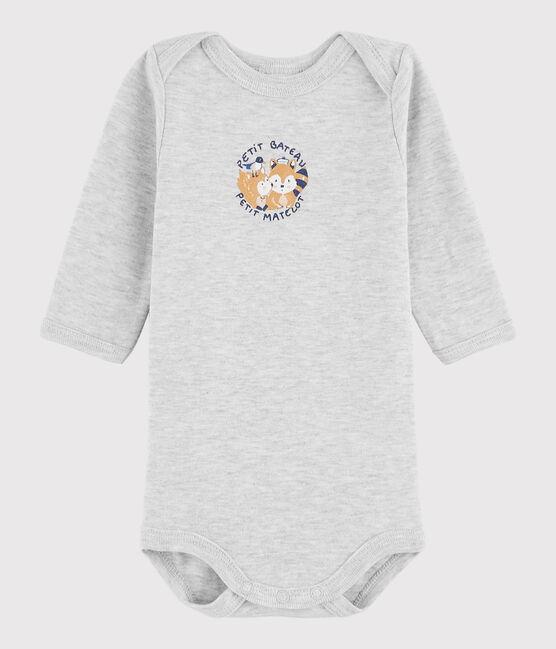 Baby Boys' Long-Sleeved Bodysuit Beluga Chine grey