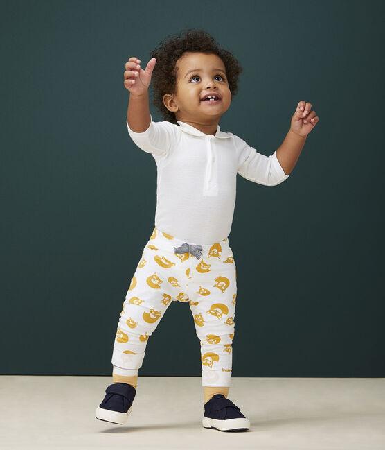 Baby boy's plain fleece trousers Marshmallow white / Boudor yellow