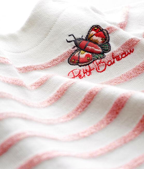Baby girls' stripy breton bodysuit Marshmallow white / Joli Brillant pink
