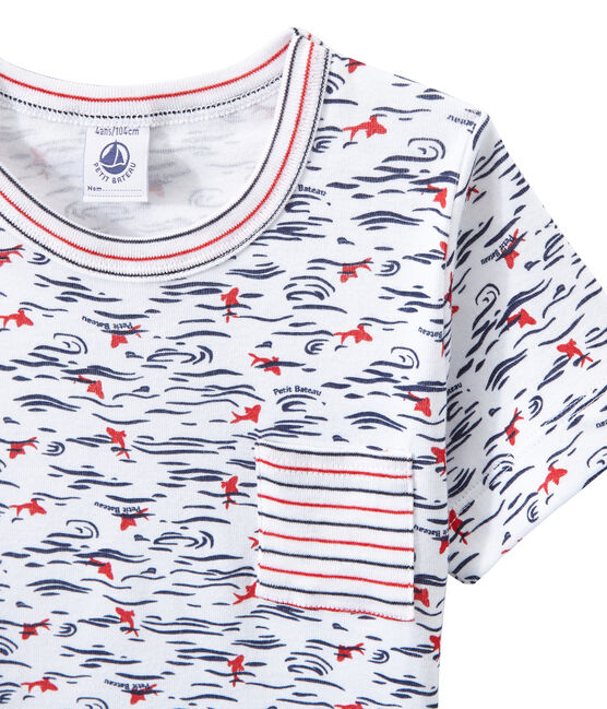 Boy's shortie pyjamas with print and stripes Ecume white / Smoking blue