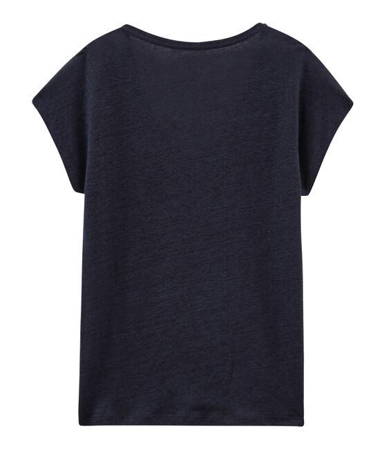 Women's iridescent linen short-sleeved t-shirt Smoking blue / Copper pink