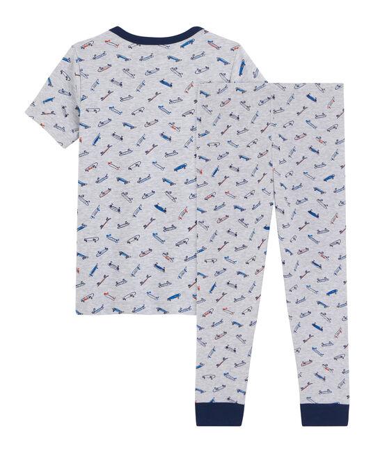 Boys' Ribbed Skates Pyjamas Poussiere grey / Multico white