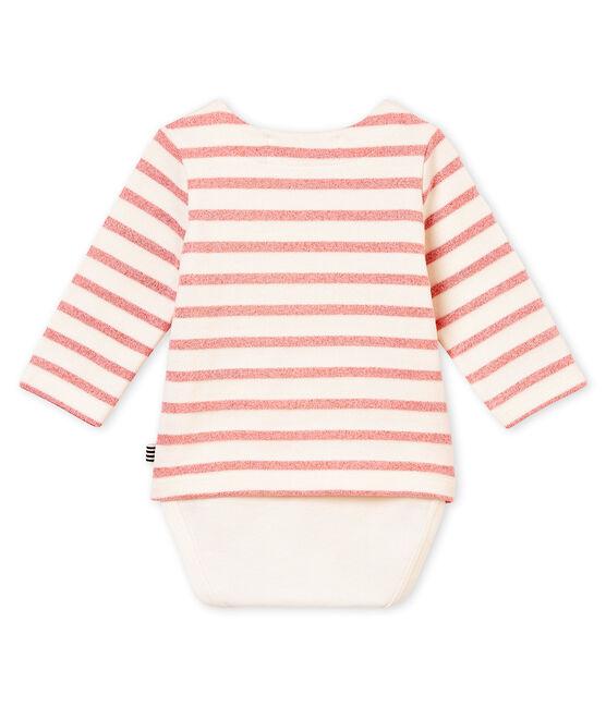 Baby girl's sailor striped body T-shirt Marshmallow white / Joli Brillant pink