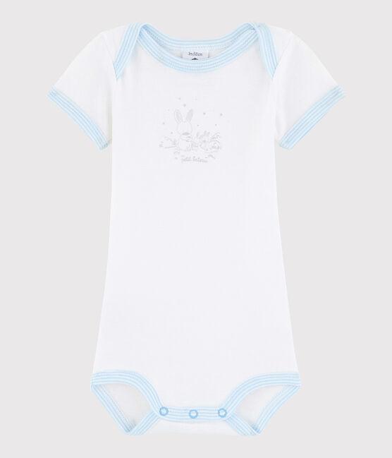 Baby Boys' Short-Sleeved Bodysuit ECUME white /JASMIN blue