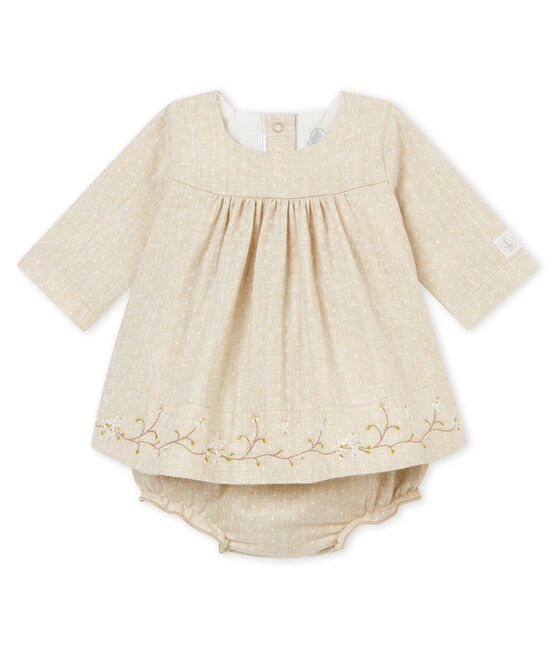 Baby girl's dress and bloomers Creamy Chine beige