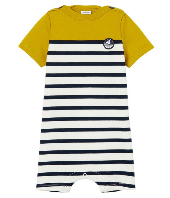 Baby boys' Shortie in heavy striped jersey Bamboo yellow / Marshmallow white