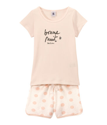 Girl's two-fabric shortie pyjamas with silkscreen motif