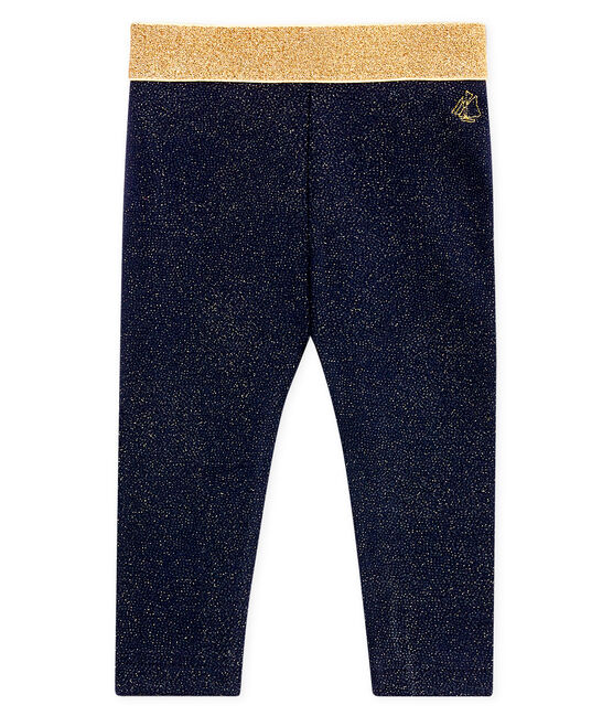Baby girls' glittery leggings Smoking blue / Dore yellow