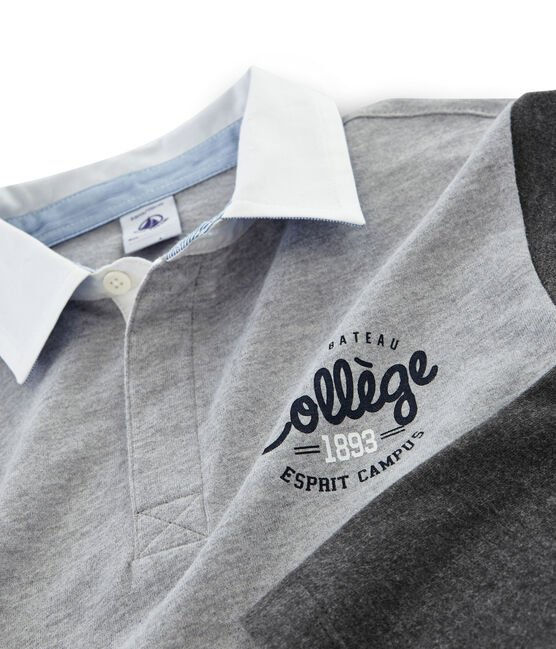 Boys' Rugby Polo Shirt Subway grey / City black