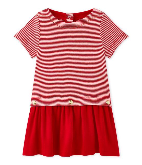 Baby girl's milleraies-striped dress Terkuit red / Marshmallow white