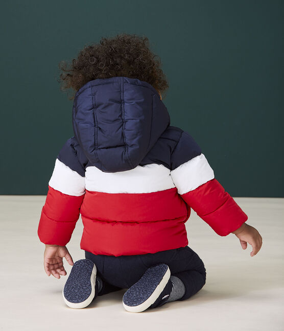 Baby boy's quilted puffer jacket Smoking blue / Multico white